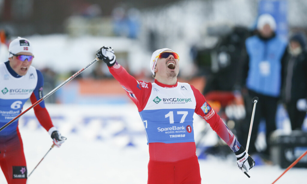 MER JUBEL: Finn Hågen Krogh viste fram nok en sluttspurt. Den ga Norge seieren i stafetten. Her fra NM tidligere i år. Foto: Terje Pedersen / NTB scanpix