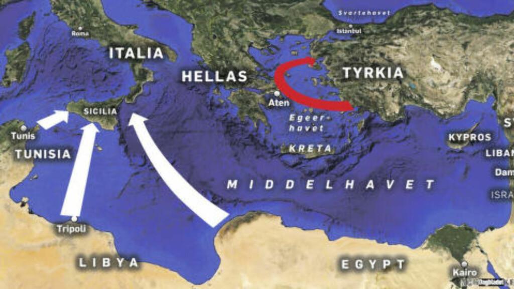 OVER HAVET: Det kom desidert flest flyktninger og migranter over Hellas-ruta i fjor, faktisk hele 850 000. Men det er denne ruta EU/Tyrkia-avtalen skal ha stengt nå. 150 000 kom via Italia i fjor og over 19 000 så langt i år. Disse kan fortsatt ta seg opp gjennom Europa, selv om Balkan-ruta er stengt. Grafikk: Kjell Erik Berg