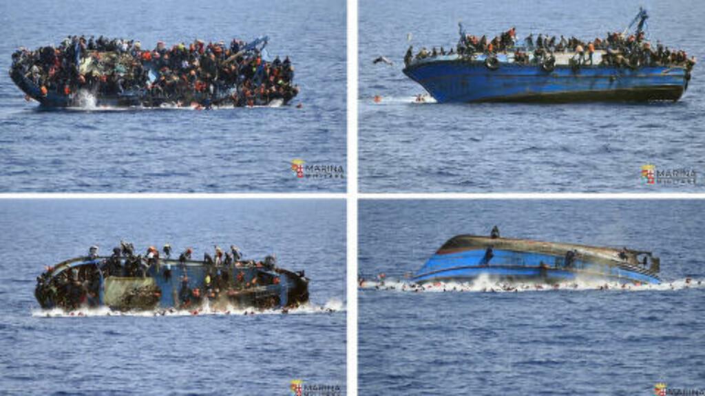 KATASTOFEN ET FAKTUM:  I går kantret denne båten på vei fra Libya til Italia, da redningsmannskapene nærmet seg. Foto: Italian navy / Ap / Scanpix