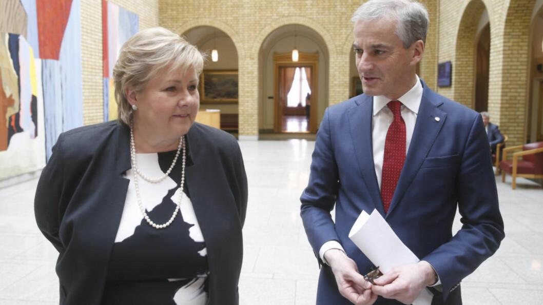 <strong>RØRENDE ENIGHET:</strong> Statsminister Erna Solberg (H) og Ap-leder Jonas Gahr Støre var ikke uenige om mye i arbeidet med ny skattereform. Foto: Vidar Ruud / NTB scanpix