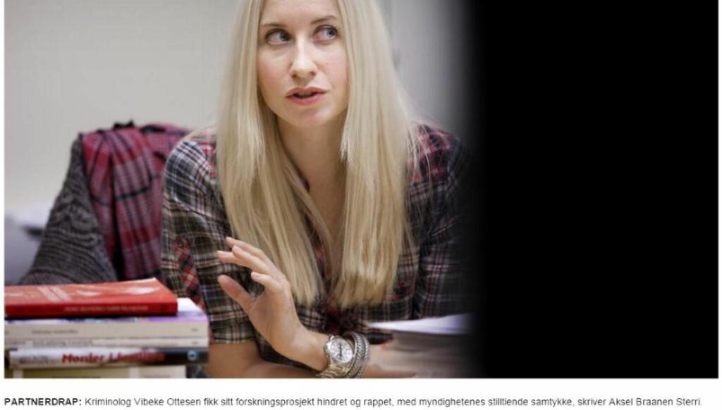 HARD KOMMENTAR: Aksel Braanen Sterri skrev tidligere i dag en kommentar om at Vibeke Ottesen fikk sitt forskningsprosjekt hindret og rappet. Faksimile Dagbladet.no
