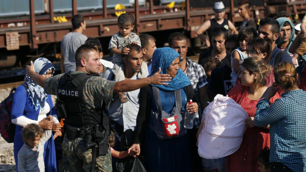 HIT, MEN IKKE LENGER: Flyktninger fra Syria stanses av makedonsk politi ved grensa mellom Hellas og Makedonia. Den arabiske våren var heller ingen demokratisk suksess. AP Photo / Darko Vojinovic / NTB Scanpix