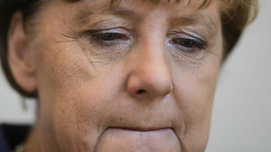 FORSKER? Angela Merkel har blitt et språklig fenomen. Foto: MARKUS SCHREIBER / AP PHOTO / NTB SCANPIX
