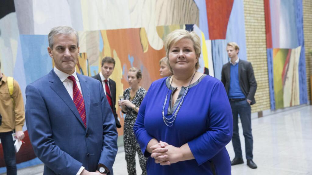 HOVEDMOTSTANDERE: Ap-leder Jonas Gahr Støre og statsminister Erna Solberg (H). Foto: Terje Bendiksby / NTB scanpix.
