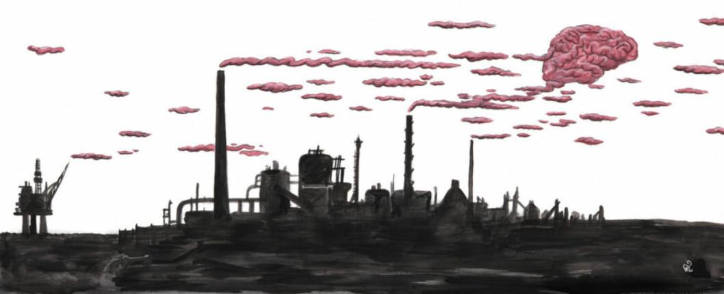 <strong>INDUSTRILANDET:</strong> Det er ingeniører, fagarbeidere og forvaltning av naturressurser som er grunnlaget for fremtiden. Det er det vi lever av. Og det er forutsetningen for at noen av oss kan skumme fløten her i Oslo, skriver Cathrine Sandnes i uka helgekommentar. Illustrasjon: Flu Hartberg