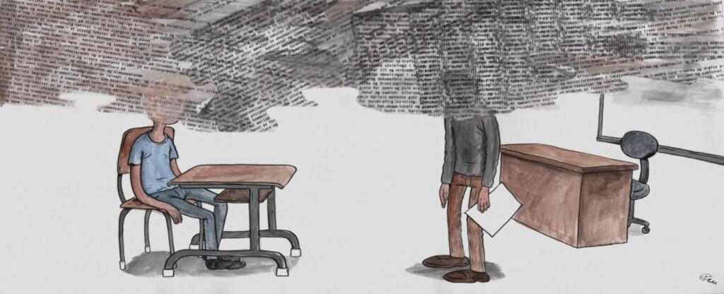 LÆRERPLANER: Det er lov å spørje seg kvifor dagens lærarstudentar ikkje fekk betre karakterar på vidaregåande, men før ein legg all skyld på dei, kan ein kaste eit blikk på læreplanen i norsk for eit muleg svar. Illustrasjon: Flu Hartberg