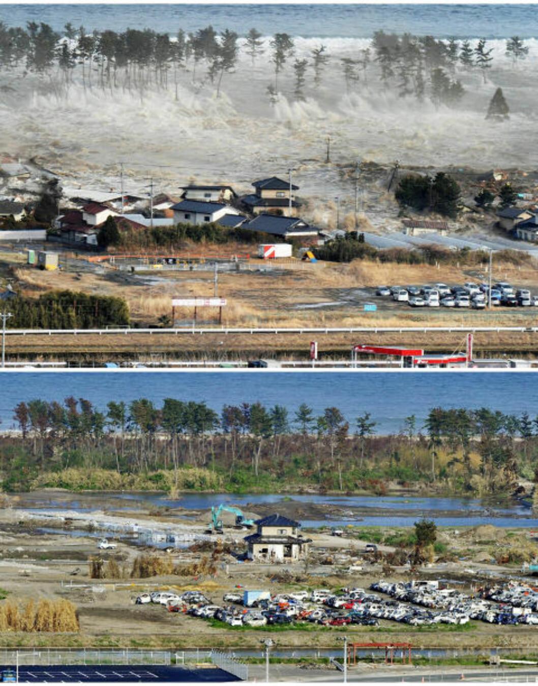 <strong>SKYLLET MED SEG HUS:</strong> På det nerste før-bildet er det ett hus. Da tsunamien slo inn over Natori i Japan tok vannmassene med seg det meste det kom over. Foto: Kyodo/Reuters