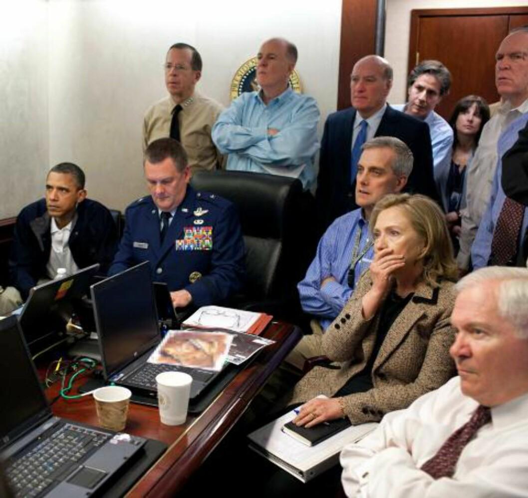 <strong>FULGTE MED:</strong> President Barack Obama fulgte med på storskjerm da Osama bin Laden ble tatt og drept. Foto: The White House, Pete Souza/AP