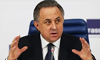 <strong>RASER:</strong> Russlands idrettsminister Vitalij Mutko er svært kritisk til IAAFs avgjørelse om å utestenge de russiske friidretsutøverne fra Rio-OL. Foto: NTB Scanpix