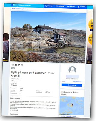 LEIES UT: Prisen var satt til 130 000 kroner i året da kronprinsens hytte på egen øy ble lagt ut i 2013. Hoffet vedlikeholder.