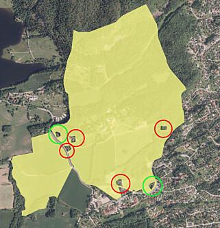 LEIER UT: Kartet viser kronprinsens privateeide Skaugum gård i Asker på 1 200 mål. På flere utskilte tomter (i rødt) leier kronprinsen ut boliger. De grønne har han solgt for 12,1 millioner kroner. Kilde: Kartverket