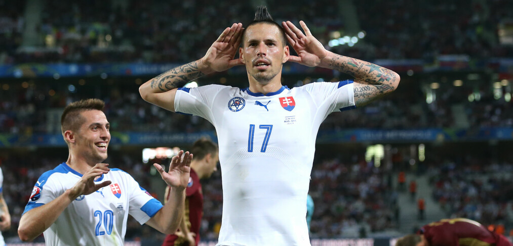 VISTE SEG FRAM: Slovakia og Marek Hamsik vant mot Russland i fotball-EM. Foto: David Klein/Sportimage via PA Images