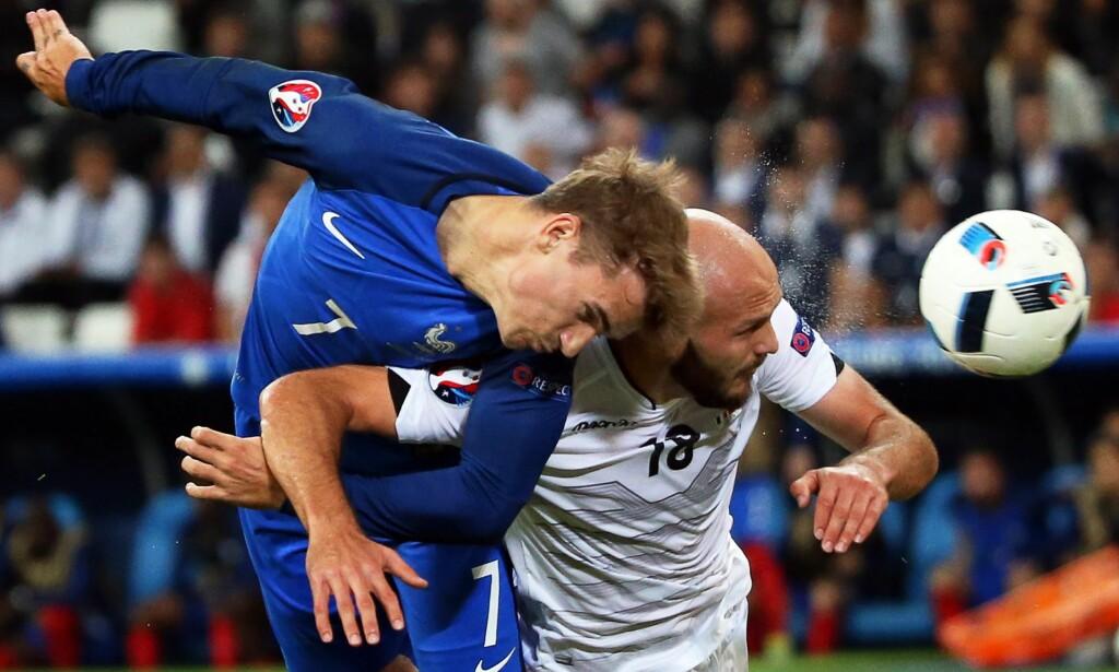 MÅLSCORER: Antoine Griezmann scoret 1-0 for Frankrike i en slitekamp mot Albania. Foto: EPA/OLIVER WEIKEN