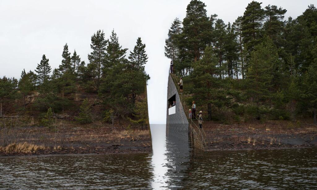 ILLUSTRASJON: Slik ønsker staten at minnesmerket etter 22. juli på Sørbråten i Hole kommune skal se ut. Foto: Jonas Dahlberg Studio / NTB scanpix