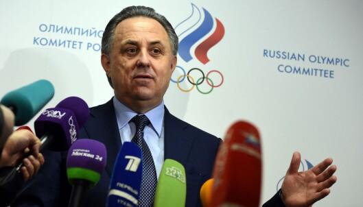 <strong>SKUFFET:</strong> Russlands idrettspresident Vitaly Mutko er skuffet over IAAFs avgjørelse. Gerhard Heiberg er skuffet over Mutkos utspill. Foto: NTB Scanpix
