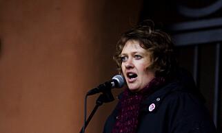 JUBELÅRET: Ane Stø taler på 8. mars i 2008 - samme året som sexkjøpsloven ble innført. Foto: Kyrre Lien / SCANPIX .