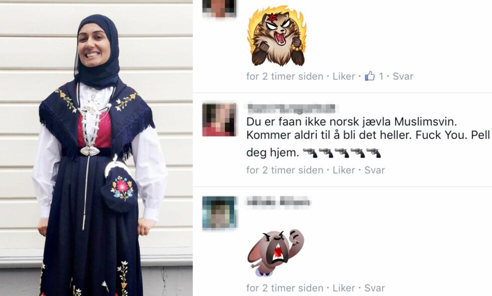 RASISME: Sahfana M. Alis bilde av sin Frafjord-bunad med spesialsydd hijab har utløst et skred av hatmeldinger på islamfiendtlige Merete Hodnes Facebook-vegg. Foto: Privat
