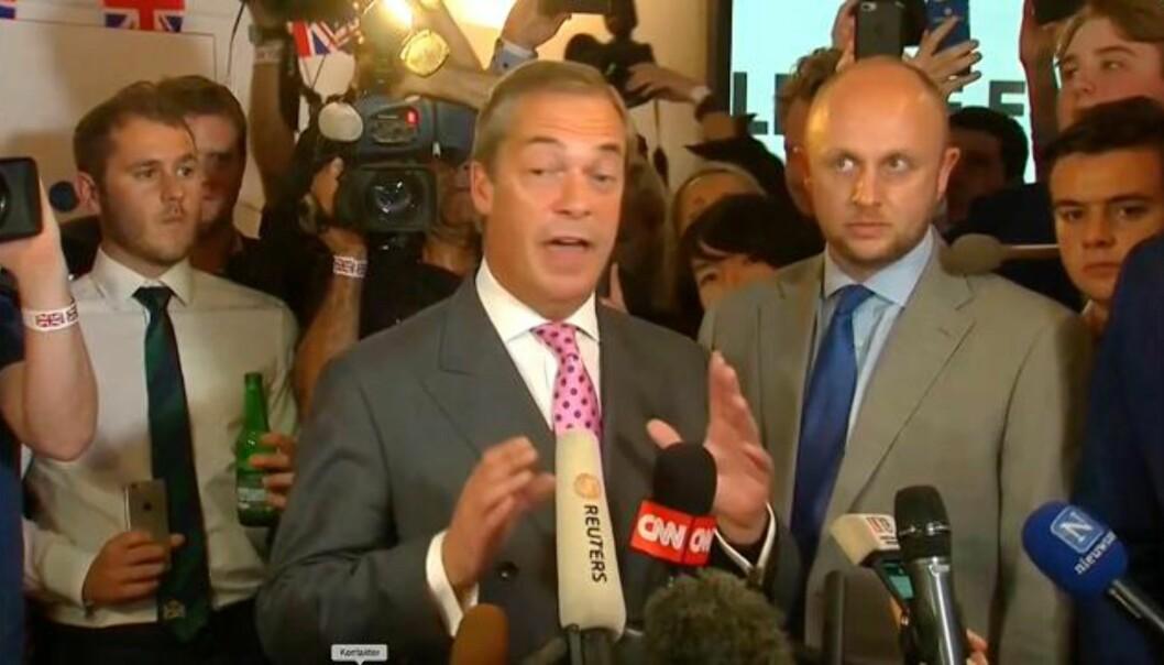 Farage: - EU er dømt til å kollapse uansett, med eller uten oss