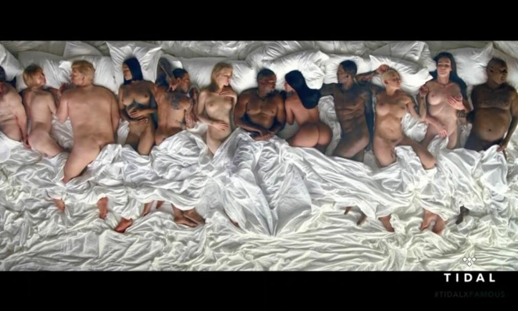 VOKSDUKKER? George W. Bush, Anna Wintour, Donald Trump, Rihanna, Chris Brown, Taylor Swift, Kim Kardashian, Ray J, Amber Rose, Caitlyn Jenner og Bill Cosby deler seng med Kanye West i hans siste musikkvideo. Foto: Tidal / Complex Music