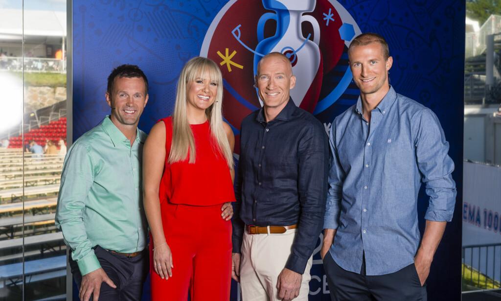 EKSPERTER: TV 2s fotballeksperter under EM er Ronny Deila, Julie Strømsvåg, Erik Thorstvedt og Brede Hangeland. Foto: Geir Egil Skog / TV 2