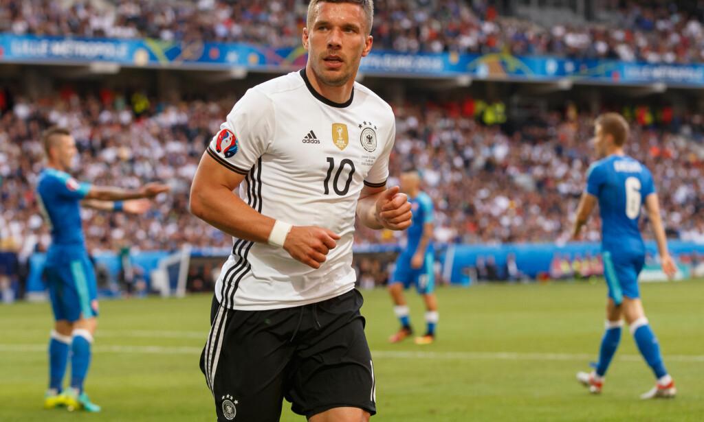 MISNØYE: Lukas Podolski og Tyskland imponerer i EM, men angriperen er ikke imponert av Uefa. Foto: Ben Queenborough/BPI/REX/Shutterstock