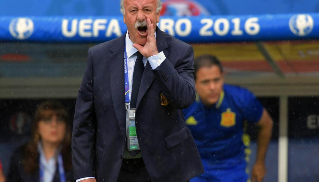 TAP: Spania-sjef Vicente del Bosque går ikke med på at en æra er over for spansk fotball og ønsket ikke å kommentere sin egen fremtid etter EM-exiten mot Italia.  Foto: NTB Scanpix