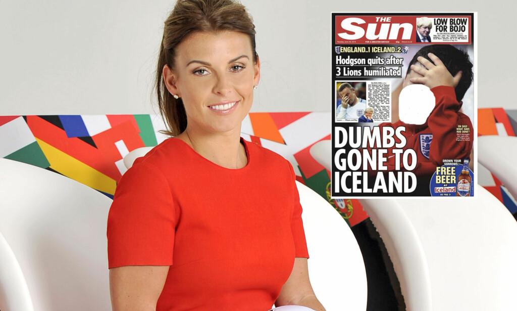 KRITISK: Coleen Rooney reagerer på at The Sun har brukt bilde av sønnen Kai (7) på forsida etter at England røk ut av fotball-EM. Foto: NTB Scanpix / Faksimile fra The Sun (Dagbladet har valgt å sladde ansiktet)