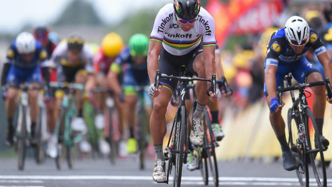 <strong>STERKEST:</strong> Ingen kunne tukte Peter Sagan i avslutningen på den andre etappen av Tour de France. FOTO: Tim de Waele (TDWSport.com)