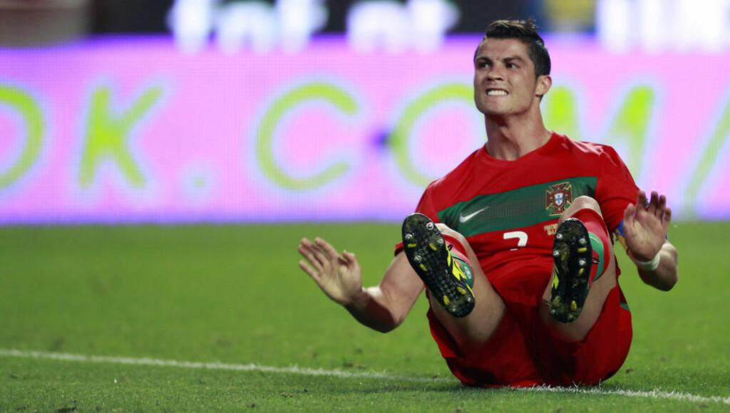 TERROR-MÅL: Portugals desidert største stjerne, Cristiano Ronaldo, gjør at landslagets kamper under sommerens EM-sluttspill i Frankrike defineres som høyrisiko-kamper, ifølge landets landslagssjef. Her fra en hjemmekamp mot Norge i 2012. Foto: Jose Manuel Ribeiro/Reuters/NTB Scanpix