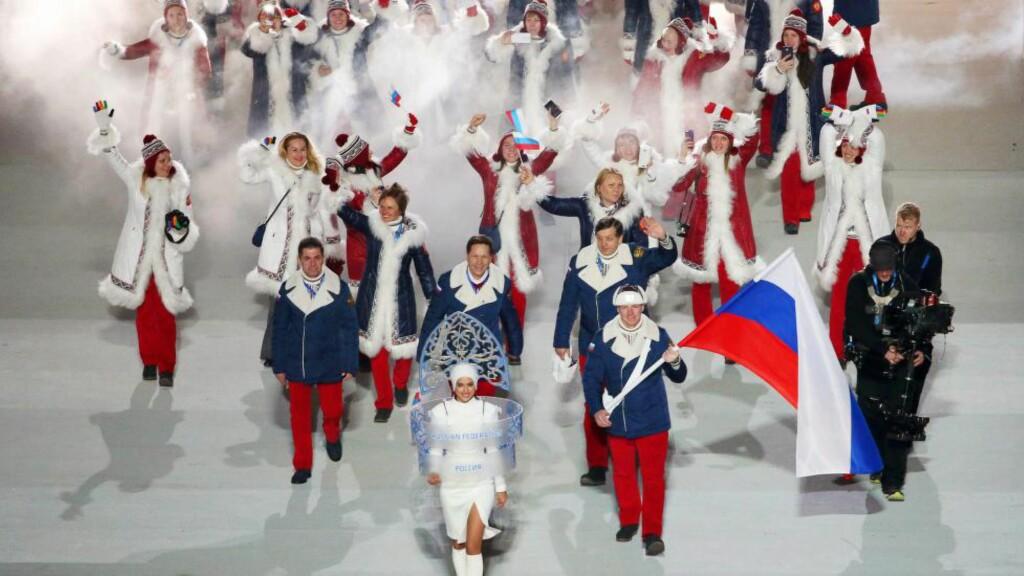 RUSSISK OL-DOPINGSJOKK: Grigorij Rodtsjenkov avslørte at over hundre prøver angivelig skal ha blitt tuklet med under OL i Sotsji, 2014. Her fra åpningsseremonien. Foto: EPA/BARBARA WALTON/NTB Scanpix