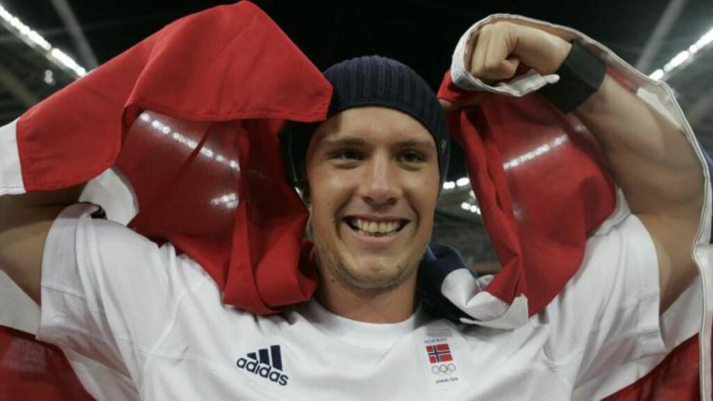 GJENNOMBRUDDET:  Andreas Thorkildsen vant OL-gull i spyd i Aten i 2004 bare 22 år gammel. Foto: Cornelius Poppe / SCANPIX