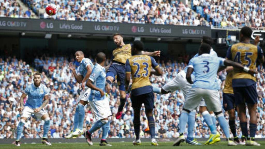 UMARKERT: Olivier Giroud endte en 15 kamper lang måltørke da han headet inn 1-1 etter en corner. Foto: Reuters / Andrew Yates / NTB Scanpix