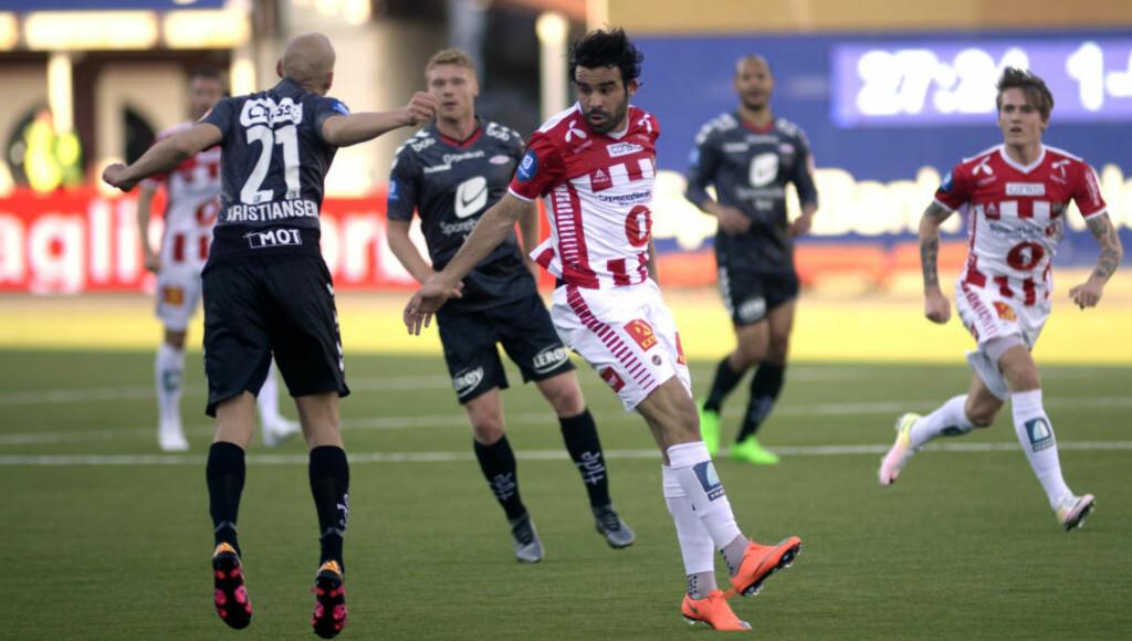 HELT: Tromsøs Sofien Moussa, her i duell med Branns Ruben Kristiansen, scoret kampens eneste mål mot bergenserne. Foto: Rune Stoltz Bertinussen / NTB scanpix