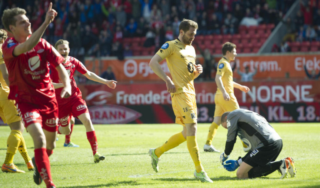 SCORET:  Jakob Orlov scorer 1-0 mot Bodø/Glimt. Flere mål ble det ikke i Bergen.  Foto: Marit Hommedal / NTB scanpix