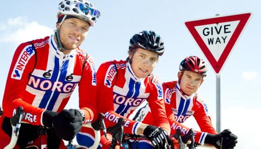 <strong>FENOMEN:</strong> Thor Hushovd (lagt opp), Edvald Boasson Hagen og Alexander Kristoff representerer sammen en storhetstid for norsk sykkelsport. Foto: Heiko Junge / Scanpix