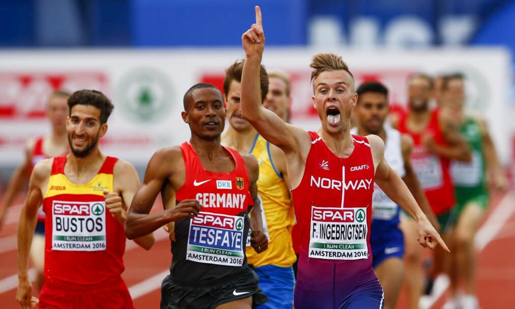 <strong>TUNGE TAK:</strong> Filip Ingebrigtsen var først over målstreken. &nbsp;Foto: Heiko Junge / NTB scanpix