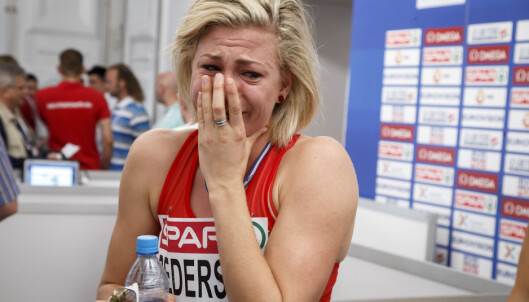 <strong>TÅRER BLE JUBEL:</strong> Isabelle Pedersen klarte ikke OL-kravet under EM i Amsterdam, men fikk likevel klarsignal for Rio av Olympiatoppen i dag. Foto: Heiko Junge / NTB scanpix