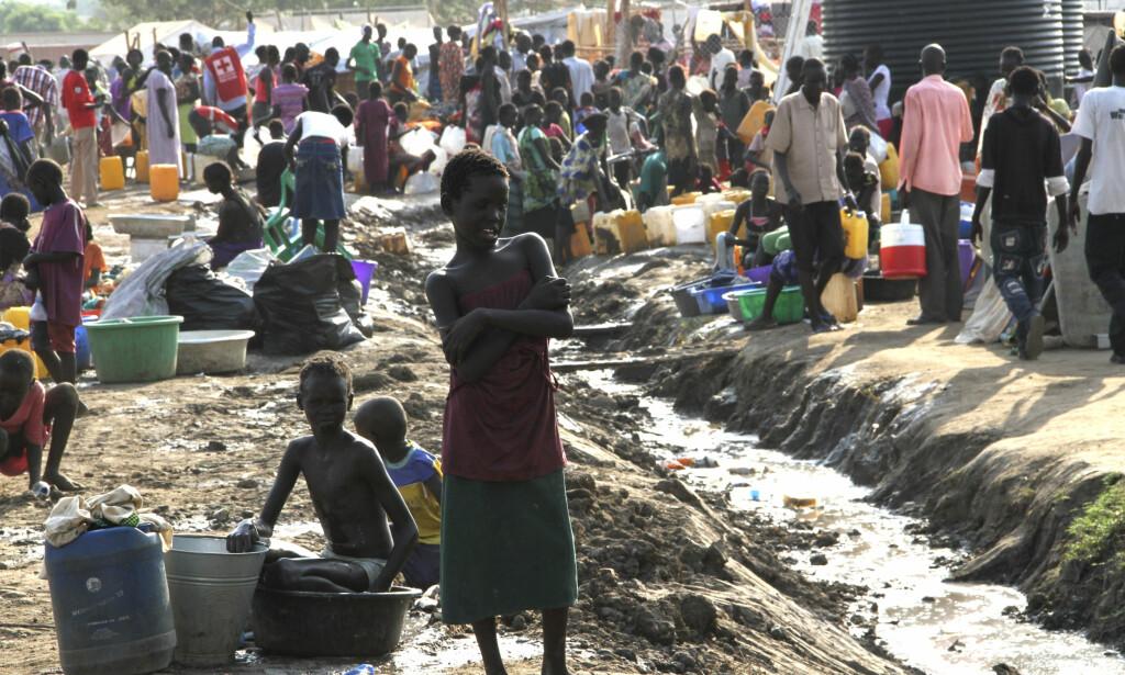 INTERNFLYKTNINGER: Over 24.000 fordrevne holder til på FNs base i Juba i Sør-Sudan. Forholdene er blitt beskrevet som elendige og risikoen for sykdommer er enorm.Foto: Bibiana Dahle Piene / NTB scanpix