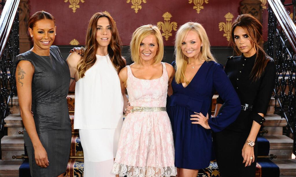 90-TALLSHELTER: Fra venstre: Melanie Brown (Mel B), Melanie Chisholm (Mel C), Geri Halliwell, Emma Bunton og Victoria Beckham. Foto: NTB Scanpix
