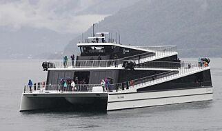 image: Et romskip? Et operahus? Nei, det er en hybridferge som viser hvordan cruiseturismen kan bli grønnere