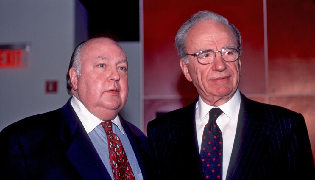 <strong>GÅR AV:</strong> Roger Ailes, til venstre i bildet, går nå av som administrerende direktør i Fox. Rupert Murdoch tar over rollen. Her fra 1996. &nbsp;Foto: Allan Tannenbaum/Polaris, NTB scanpix