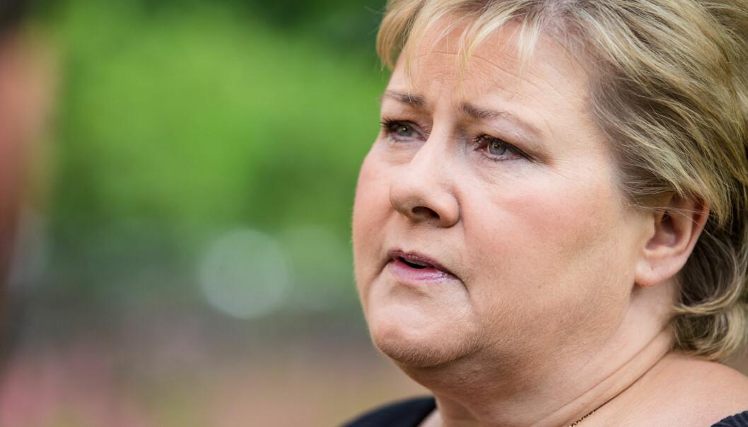 Statsminister Erna Solberg, som skal delta i markeringene av at det er fem år siden angrepene på regjeringskvartalet og på Utøya. Foto: Audun Braastad / NTB scanpix