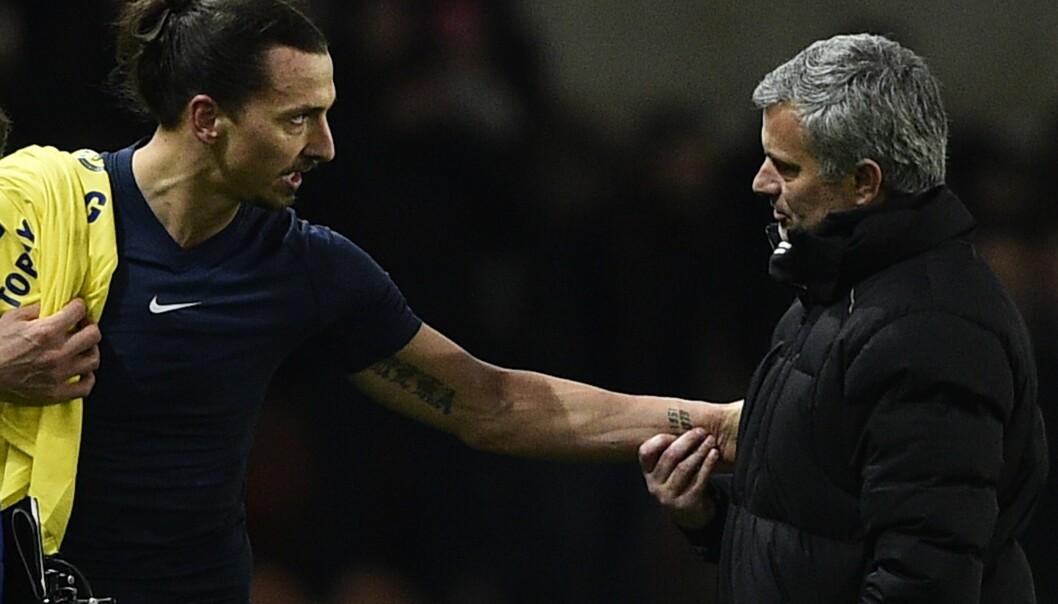 <strong>GJENFORENT:</strong> Jose Mourinho avslører hvordan han fikk Zlatan Ibrahimovic til Manchester United. Foto: AFP PHOTO / FRANCK FIFE