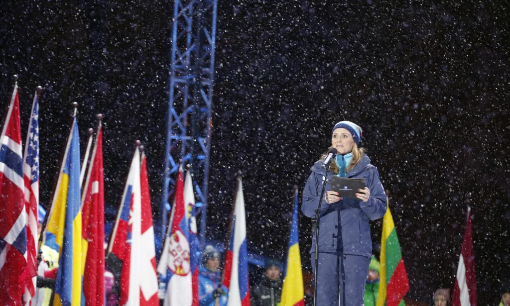 INN I ANTIDOPINGARBEIDET: Kulturminister Linda Hofstad Helleland under åpningen av Skiskytter-VM i Oslo 2016. I helga ble Helleland valgt til visepresident i verdens antidopingbyrå (WADA), som ligger i konflikt med Russland. Foto: Vidar Ruud / NTB scanpix