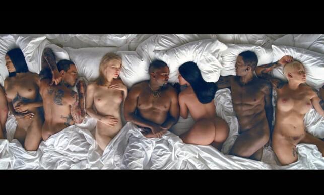NSFW: Slik ser kjendisene ut i Wests video. Fra venstre ser vi Rihanna, Chris Brown, Taylor Swift, Kanye West, Kim Kardashian, Ray J og Amber Rose. Foto: Tidal/XPOSUREPHOTOS.COM, NTB scanpix
