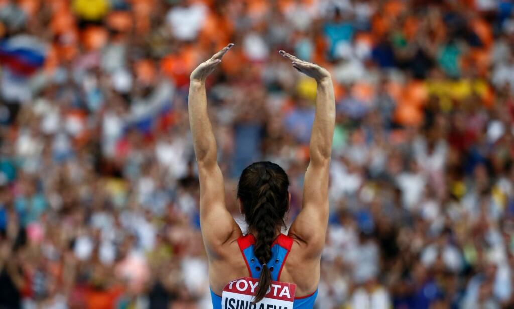 FIKK IKKE DELTA: Tidenes beste kvinnelige stavhopper Jelena Isinbajeva var en av mange russiske friidrettsutøvere som ikke fikk delta i OL i Rio 2016 etter at IAAF nektet alle russiske utøvere deltakelse i internasjonale stevner. Foto: NTB Scanpix