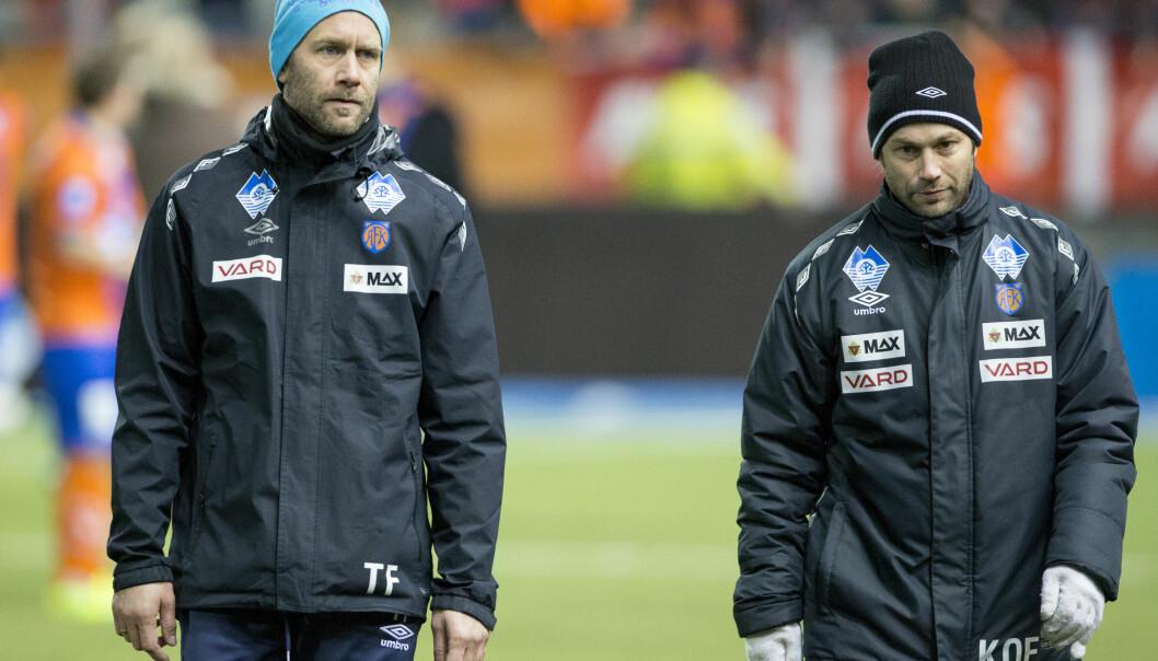 <strong>SPARKET:</strong> Aalesunds trener Trond Fredriksens (t.v.) samarbeid med Karl Oskar Fjørtoft er over. Foto: Svein Ove Ekornesvåg / NTB scanpix