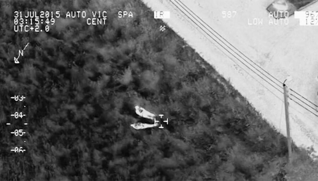 Se hvordan politiet brukte helikopter og varmesøkende kamera for å finne gjerningsmennene