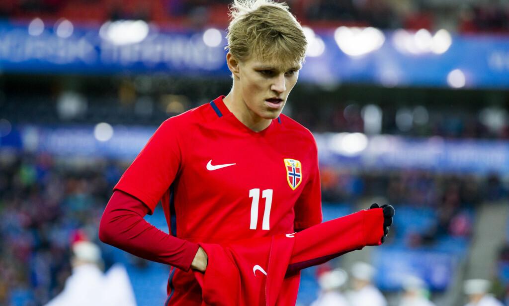 NEDTUR: Martin Ødegaard og Norges U21-landslag gikk på en stjernesmell med 1-6-tapet mot England. Foto: Vegard Wivestad Grøtt / NTB scanpix