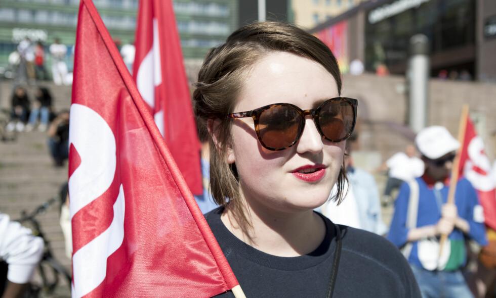 SKREMT: Leder i Sosialistisk Ungdom, Andrea Sjøvoll, reagerer sterkt på kommentarene Kaja Elise Meløy Yngsdal Hilleren har mottatt etter et innlegg i Dagbladet. Her under en demonstrasjon i Oslo tidligere i sommer. Foto: Torstein Bøe / NTB scanpix